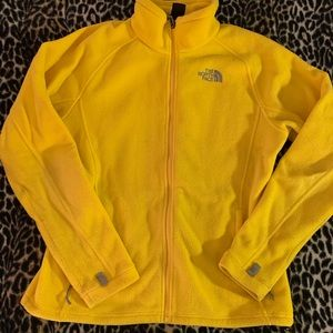Yellow north face fleece jacket large